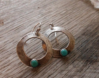 Rustic Sterling Silver & Turquoise Free Form Circle Earrings