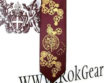 RokGear Steampunk print Men's necktie custom colors available