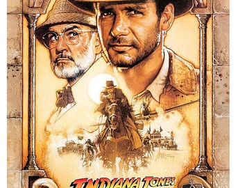"Indiana Jones and the Last Crusade - Home Theater Media Room Decor - 13""x19"" or 24""x36"" -  Movie Poster Print - Harrison Ford - Sean Connery"