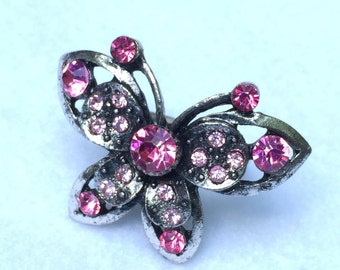 Costume Fashion Ring Pink Butterfly Adjustable