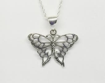 Butterfly Necklace~Sterling Silver Butterfly Pendant~Silver Butterflies~Butterfly Lover Jewelry~Gift for Her~Bridesmaid Gift~Wedding Jewelry