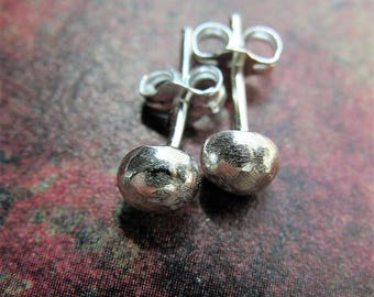 Bright Sterling Silver Pebble Post Earrings