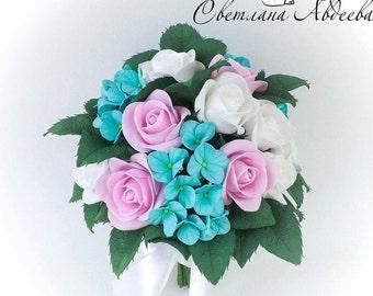 Bridal Bouquet Tiffany Wedding Bouquet Bridesmaid bouquet Bouquet Wedding flowers Alternative bouquet Keepsake bouquet Rose bouquet Handmade