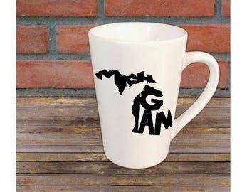 Michigan State Outline Mug Coffee Cup Gift Home Decor Any Color Jenuine Crafts