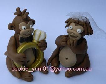 2 edible 3d cute BRIDE & GROOM MONKEY wedding figures engagement proposal cake decoration topper jungle animal gumpaste sugarcraft