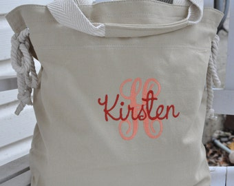 Personalized khaki canvas slouch tote  choice of 8 colors