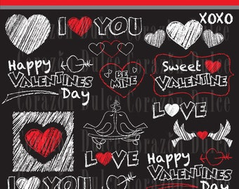 Valentines day chalkboard clipart - Personal and Commercial Use Clip Art- INSTANT DOWNLOAD