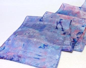 Hand-dyed Silk Scarf, Silk Scarf, Blue Silk Scarf, Blue Scarf, Pink Scarf, Pink Silk Scarf (SS-16-30)
