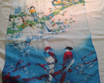 blue chiffon scarfe with birds
