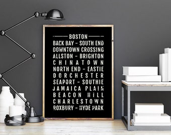 Good Boston Print   Neighborhoods   Subway Poster, Boyfriend Gift, Husband Gift, Wall  Art