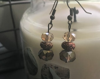 Bronze colored beaded earrings