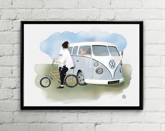 impresión furgoneta Volkswagen azul, ilustración bicicleta i furgoneta, decoración furgoneta, Arte pared Descarga inmediata