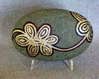 Gold Floral Design Unique 3D Art Object, Hand Painted Rock, Signed Numbered