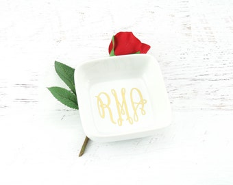 Personalized Ring Dish - Bridesmaid Gift - Bridesmaid Proposal - Personalized Engagement Gift - Personalized Square Ring Dish