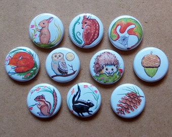 Woodland Collection 10 Pinback Buttons - Pins - Badges Baby Animals Forest Creatures Mountain Critters