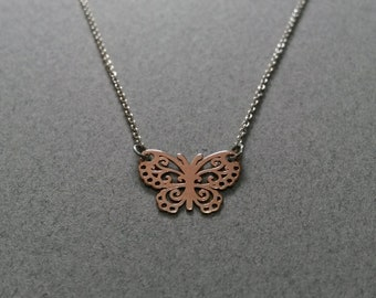 Pink necklace Butterfly vermeil 18 k and 925 sterling silver