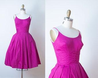 1950s Cotton Sundress / 50s Magenta Day Dress