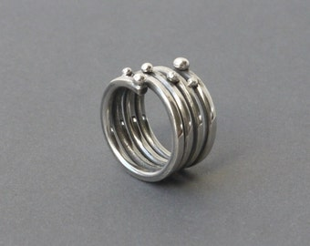 Spiral ring made of silver bullets, blackened silver infinity ring silver, one of a child jewelry