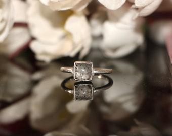 Black Rutile Quartz Ring Beautiful Square -Silver Rutile Ring-Silver Ring-Gemstone Ring-Gift To her- Rutile Ring-Staking Ring#12