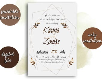 White gold wedding invitation