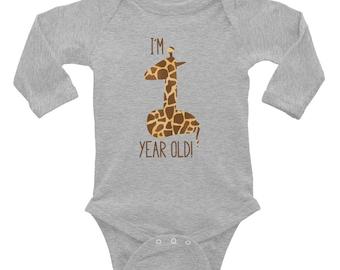 FIRST Birthday Bodysuit - Infant Long Sleeve Bodysuit for Giraffe 1st Birthday Boy or Girl