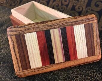 Friction-Top Mini box: English Walnut w/ 13-piece horizontal mosaic top