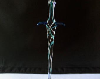 Handblown Glass Wolf Head Sword Sculpture