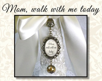 Mom Walk With Me Today, Wedding Bouquet Jewelry, Bridal Bouquet Charm with White or Gold Lace Pearl, Vintage Style Pearl Bouquet Charm