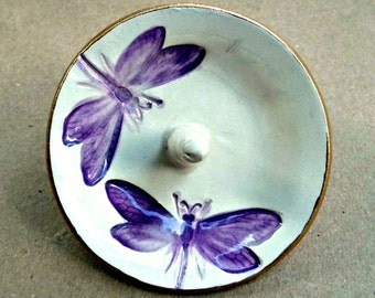 Ceramic Ring Holder Dragonfly Bowl Purple on Off White gold edged