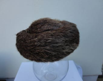 Vintage fur pillbox style hat 56cm. Immaculate condition