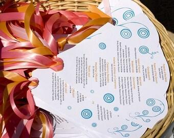SET of 25+ Custom Wedding Program Fans COMPLETELY custom design & colors