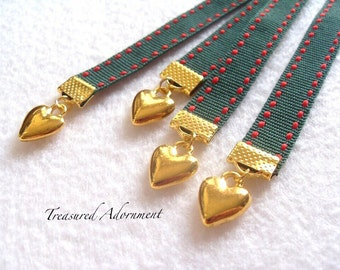 Bookmark, Heart Bookmark, Holiday Bookmark, Red and Green Stitch Ribbon, Gift for Book lover, Bookworm, Thank you gift, Bible Bookmark
