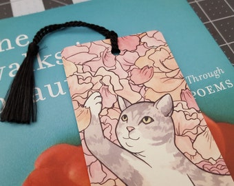Floral Kitty Bookmark with Tassel