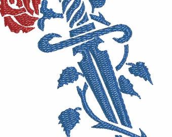Rose and Dagger Tattoo machine embroidery design