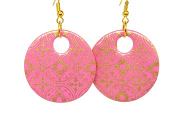 Pink and Gold Moorish Pattern Round Drop Earrings, Round Earrings, Pink Earrings, Disc Earrings, Gold Pattern, Gift For Her