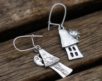 Sterling Silver House Earrings , Silver Dangle Earrings, Sterling Silver Earrings,  Nature Earrings, House Earrings, Silver Earrings