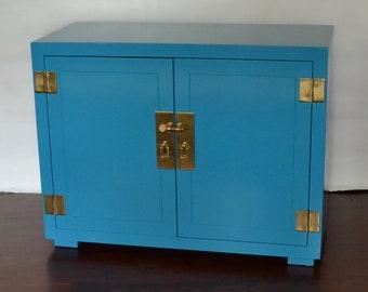 Henredon Chinoiserie Blue Cabinet Server Vintage