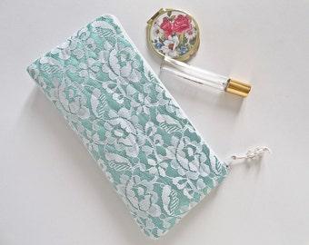Mint Green Bridal Clutch Bag Wristlet White Lace Wedding Handbag Bride Accessory Personalized