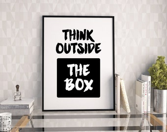 outside the box office. Think Outside The Box Typography Poster, Printable Quote, Type Print, Motivational Quote Print Office