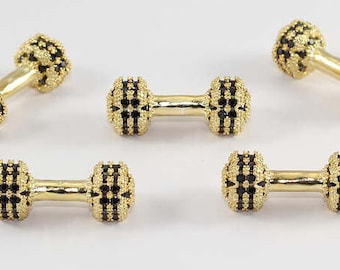 1 Pcs Micro Pave Dumbbell Beads, Gold Plated, Cubic Zirconia, Bracelet Connectors, CZ Space Beads, Cz Pave Dumbbel Beads, MMT4
