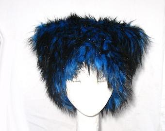 Mi Vida Azul faux fur hat Kozy Kitty Hat Royal Blue husky fur hat fleece lined blue black Mardi Gras Men Women fuzz hat Burning Man festival