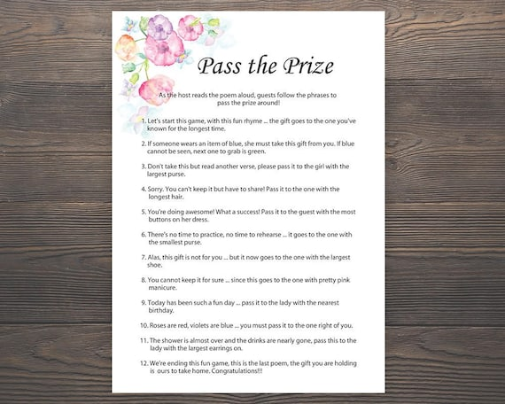 Pass The Prize Baby Shower Game Free Printable | Free ...