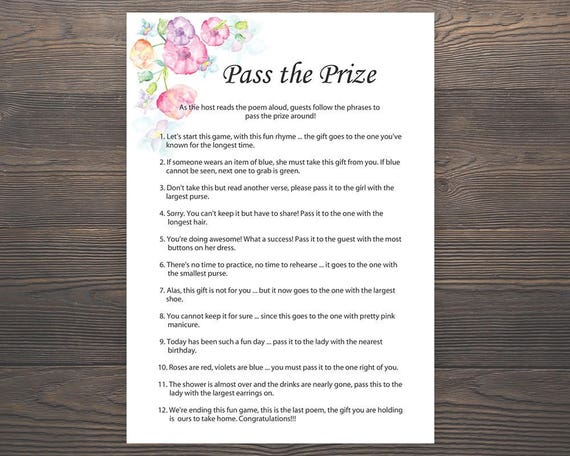 Pass The Prize Baby Shower Games Girl Baby Shower Rhyme