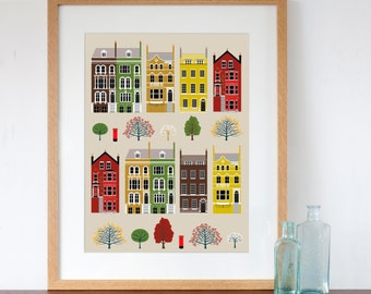 London Row Houses Art Print Autumn Fall Colours