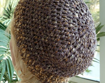 Women's winter fashion in this cute brown versatile style hat, unique cotton and nylon ribbon yarn, a unique hat that's super comfortable