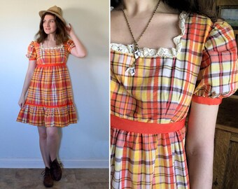 Bohemian Doll Dress | vintage 70's orange yellow gingham mini babydoll dress | small