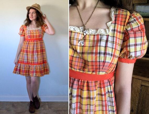 Bohemian Doll Dress | vintage 70's orange yellow gingham mini babydoll dress | small