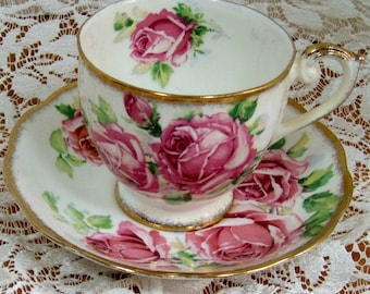 Bone China Cup and Saucer, Queen Anne of England, Bursting with Pink Roses, gilding