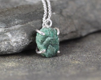 Emerald Necklace - Raw Uncut Rough Emerald Pendant - Sterling Silver - Made in Canada - Rustic - May Birthstone - Raw Green Gemstones