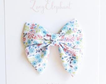 Little Flowers Brooklyn Bow, Spring Bow, Baby Headband, Sailor Bow, Non Slip Clip, Floral Bow, Girl Headband, Newborn Headband